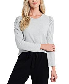 Rhinestone-Embellished Puffed-Sleeve Sweater