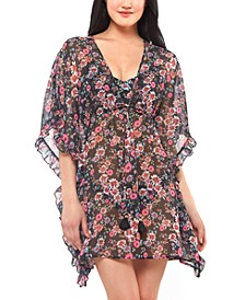 Sheer Floral-Print Swim Cover-Up