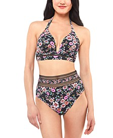 Posy Fields Halter Bikini Top & High-Waist Bottoms