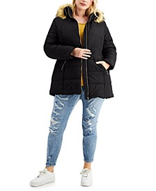 Trendy Plus Size Faux-Fur-Trim Hooded Puffer Coat