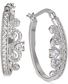 """Cubic Zirconia Small Tiara Hoop Earrings in Sterling Silver, 1"""""""
