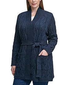 Plus Size Soft Lurex Cable Cozy Cardigan