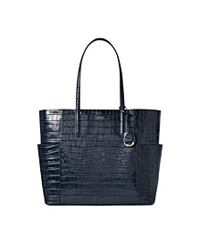 로렌 랄프로렌 Lauren Ralph Lauren Carlyle Croc-Embossed Leather Tote,Lauren Navy/Gold