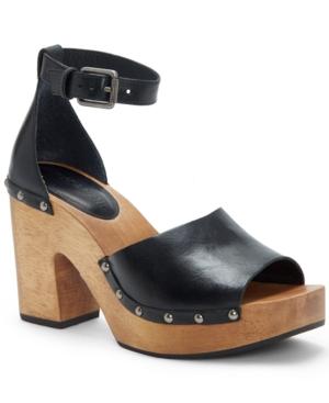 Lucky Brand Women's Nelora Platform Sandals Women's Shoes In Black Leather