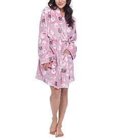 Sheep-Print Cozy Fleece Wrap Robe