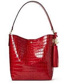 Crocodile Embossed Leather Adley Shoulder Bag