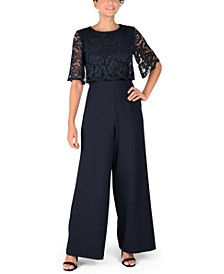 Lace-Overlay Jumpsuit