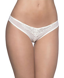 Women's Crotchless Thong with Faux-Pearls
