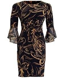 Petite Ruffled-Sleeve Sheath Dress