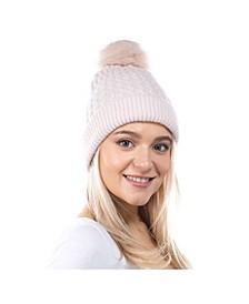 Women's Modern Cable Faux Fur Pom Hat