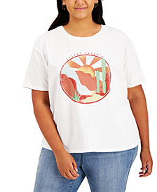 Rebellious One Trendy Plus Size Cotton Desert Sun Graphic-Print T-Shirt
