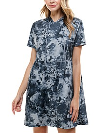 Juniors' Hooded Tie-Dyed Dress