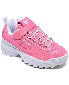 Little Girls Disruptor II Glimmer Stay-Put Closure Casual Sneakers from Finish Line