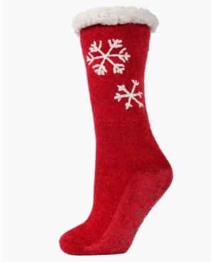 Sweet Snowflake Plush Lined Women's Slipper Sock