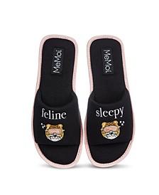 Feline Sleepy Open-Toe Women's Slippers