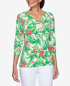 Women's Misses Tropical Floral Print Top