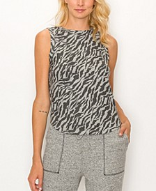 Women's Zebra French Terry Curved Hem Tank Top