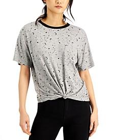 Juniors' Celestial Printed Knot-Front Ringer T-Shirt