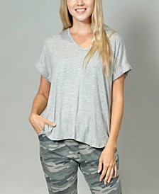 Women's Rolled Sleeve V-Neck T-shirt