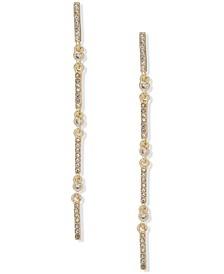 Gold-Tone Crystal Linked Bar Linear Drop Earrings