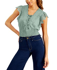 INC Plus Size Cotton Eyelet Lace-Up Blouse, Created for Macy's