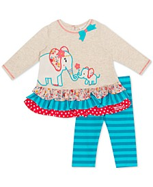 Baby Girls 2-Pc. Elephant Tunic & Striped Leggings Set