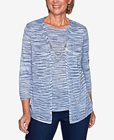 Women's Missy Denim Friendly Space Dye Two for One Sweater