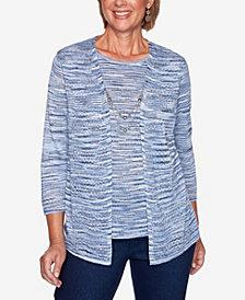 Women's Missy Denim Friendly Space Dye Two for One Sweater