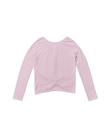 Big Girls Long Sleeve Twist Back Rib Snit Top