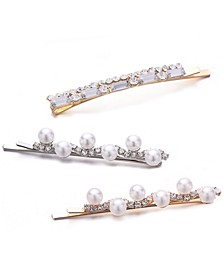 INC 3-Pc. Two-Tone Crystal & Imitation Pearl Bobby Pin Set, Created for Macy's