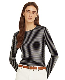 Metallic-Stripe Long Sleeve Top
