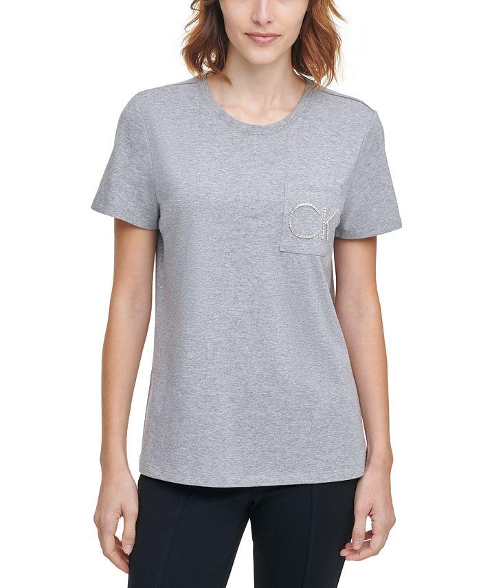 Calvin Klein - Rhinestone Logo Pocket T-Shirt