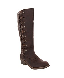 Women's Tacks Side Lace Up Tall Boots