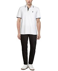 Men's Cotton Blend Logo Patch Polo T-shirt