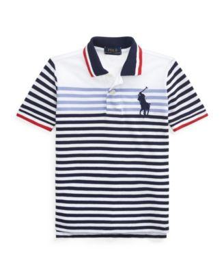 폴로 랄프로렌 보이즈 폴로티 Polo Ralph Lauren Big Boys Striped Cotton Mesh Polo Shirt,Newport Navy Multi