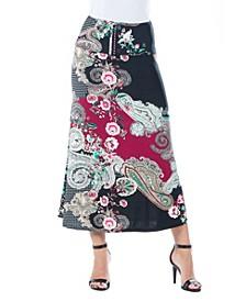 Women's Paisley Print A-Line Skirt