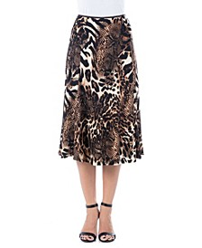 Women's Animal Print Midi Length Skirt