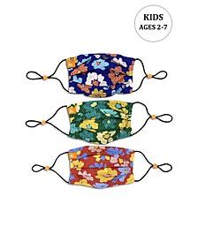 x Best Friends Unisex Kids Flower Pleated Reversible Mask, 3 Pack