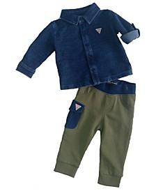 Baby Boys Long Sleeve Knit Denim Shirt & French Terry Jogger Set