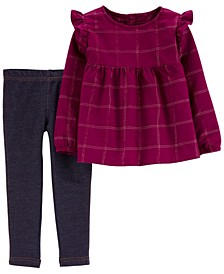 Carters Toddler Girl 2-Piece Plaid Flannel Top & Jegging Set