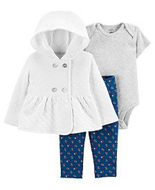 Carters Baby Girl 3-Piece Quilted Little Cardigan Set