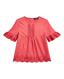 Big Girls Eyelet Pintucked Top