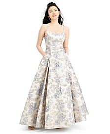 Juniors' Brocade Ball Gown with Pockets