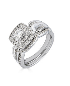 Diamond Double Halo  (5/8 ct. t.w.) Bridal Set in 14K White Gold