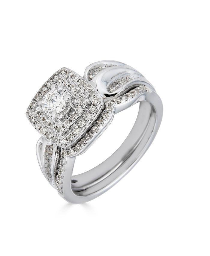Macy's - Diamond Double Halo (5/8 ct. t.w.) Bridal Set in 14K White Gold