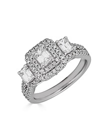 Diamond 3-Stone Emerald Cut (1 1/3 ct. t.w.) Bridal Ring with Sapphire (1/10 ct. t.w.) in 14K White Gold
