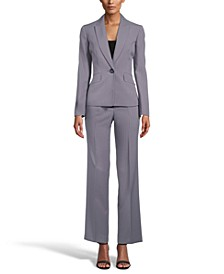 Petite One-Button Pinstripe Pantsuit