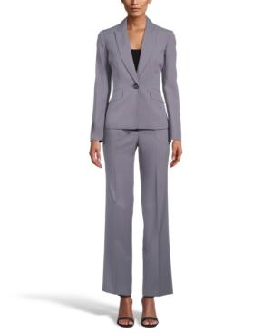 One-Button Flap-Pocket Pinstripe Pantsuit
