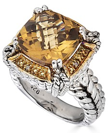 Citrine (6-1/2 ct. t.w.) & Diamond Accent Ring in Sterling Silver (Also in Green Quartz & Smoky Quartz)