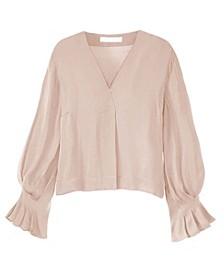 Women's Pleated Sleeve V-Neck Blouse